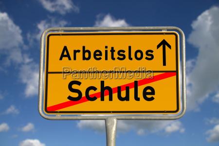 german ortsschild school unemployed