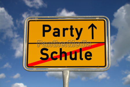 german town sign school party