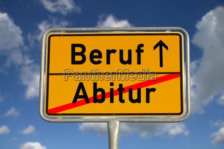 german town sign abitur profession