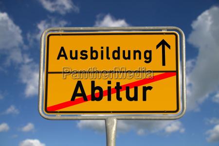 german place sign abitur training