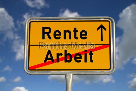 german ortsschild labor pension