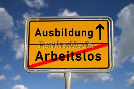 german town sign unemployed training