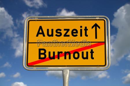 deutsches ortsschild burnout auszeit