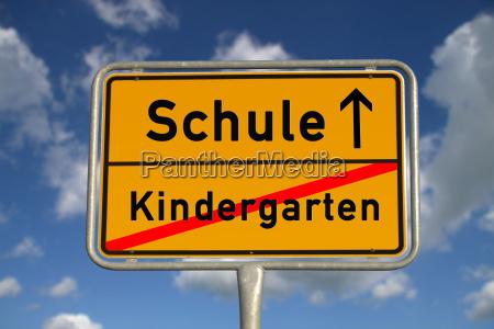 german town sign kindergarten school