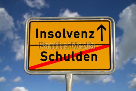 german ortsschild debt insolvency