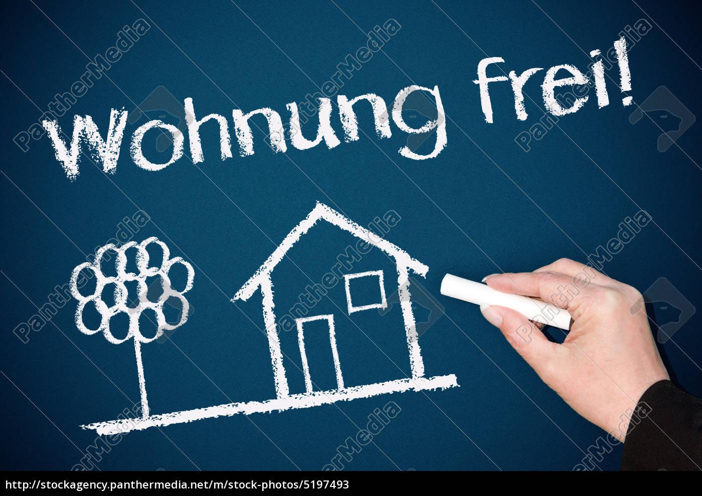 Wohnung frei ! - Immobilien Konzept Tafel - Lizenzfreies Bild ...