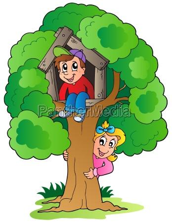 baum mit zwei cartoon kinder