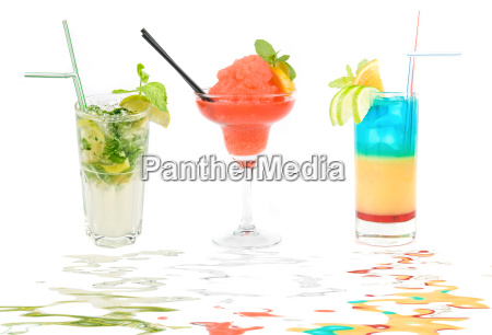 set of three fresh cocktails