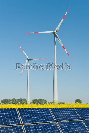 solar panels and wind turbines in