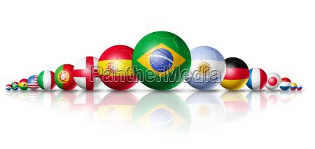 fussballfussballkugelgruppe mit teams flags