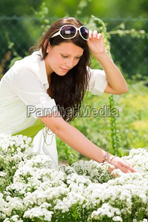 summer garden beautiful woman white flowers