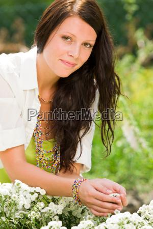 summer garden beautiful woman care white