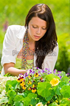 summer garden beautiful woman care color