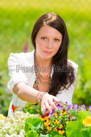 summer garden beautiful woman smiling flower