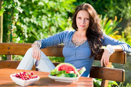 garden terrace beautiful woman fresh summer