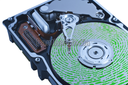 open hard drive with green fingerprint