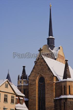 marienkirche in gera untermhaus zur winterzeit