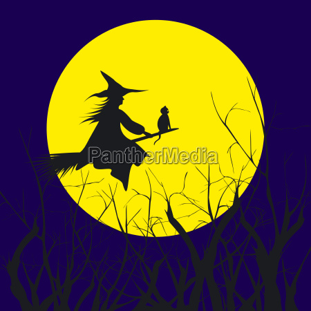 halloween background silhouette of a witch