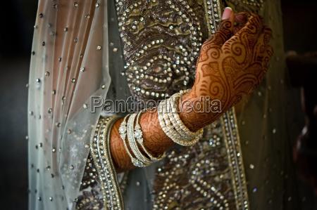 detail schuss von henna auf indischen