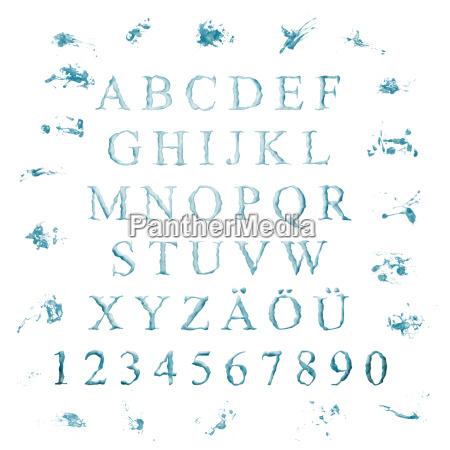 alphabet aus wasserbuchstaben
