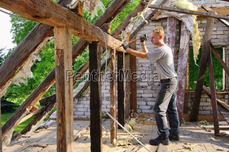 dachstuhl abbrechen roof truss demolish