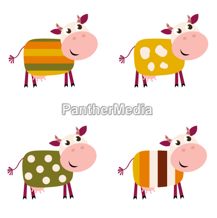 cute color pattern cows collection isolated