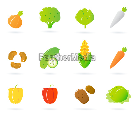 vegetable food icons collection isolated on