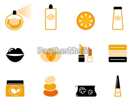 luxury cosmetics and wellness icon set