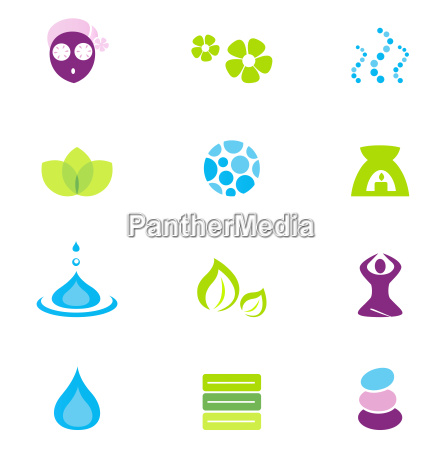 wellness spa and nature vector icons