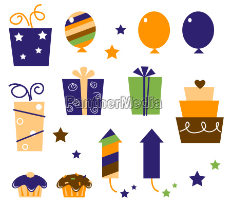 retro birthday icons and elements isolated