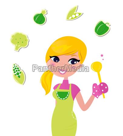 cooking woman preparing healthy green food
