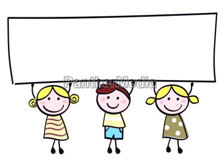 cute doodle children holding blank banner