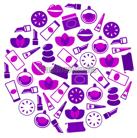 cosmetics icons in circle isolated on