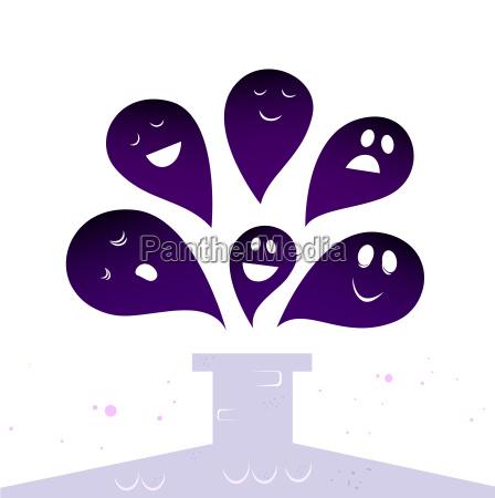 halloween ghost creatures flying around chimney