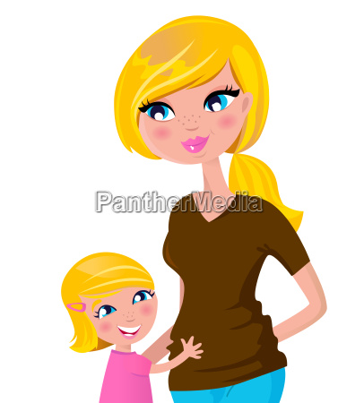 cute blond mother with daughter