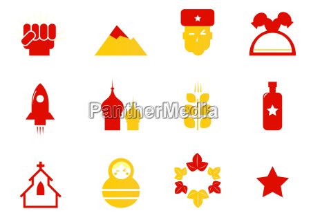 russia icons amp communist stereotypes isolated