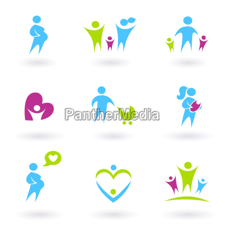 pregnancy family and parenthood icons isolated