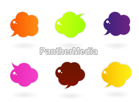 vibrant colorful speech vector icons isolated