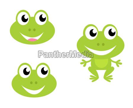 cute green cartoon frog icons