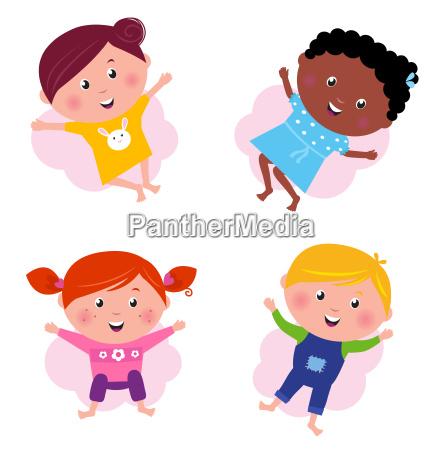 multi cultural different jumping children