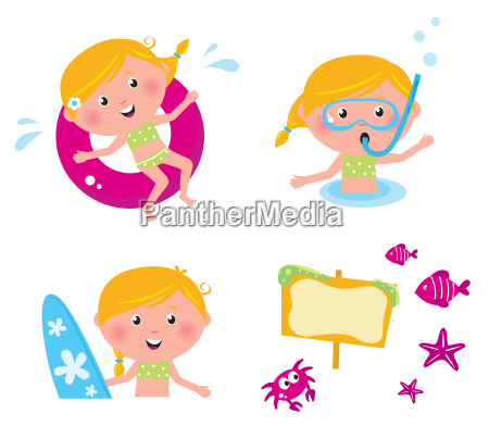 vector collection summer icons swimming kids