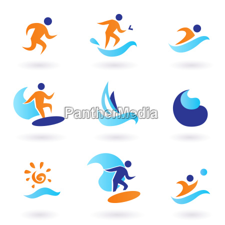 summer swimming and surfing icons