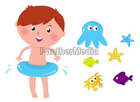 cute swimming boy and sea animals