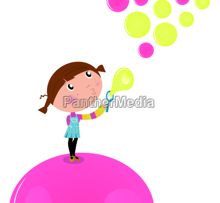 cute little kid blowing soap bubbles