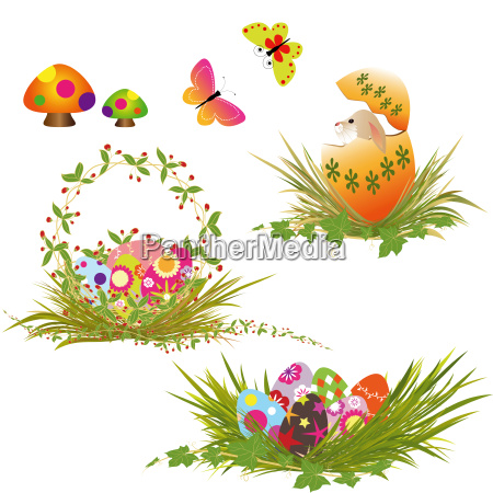 set of colorful rabbit and springtime