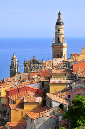 roofs and basilica at menton in