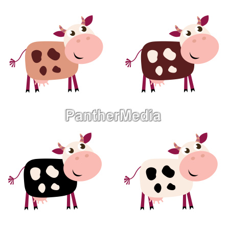 cute cow set in 4 different