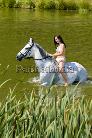 equestrian on horseback riding through water