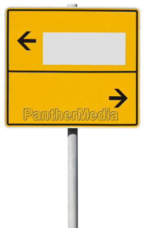 yellow direction sign clipping path included