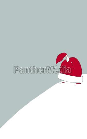 weihnachtsmann wandert im schnee